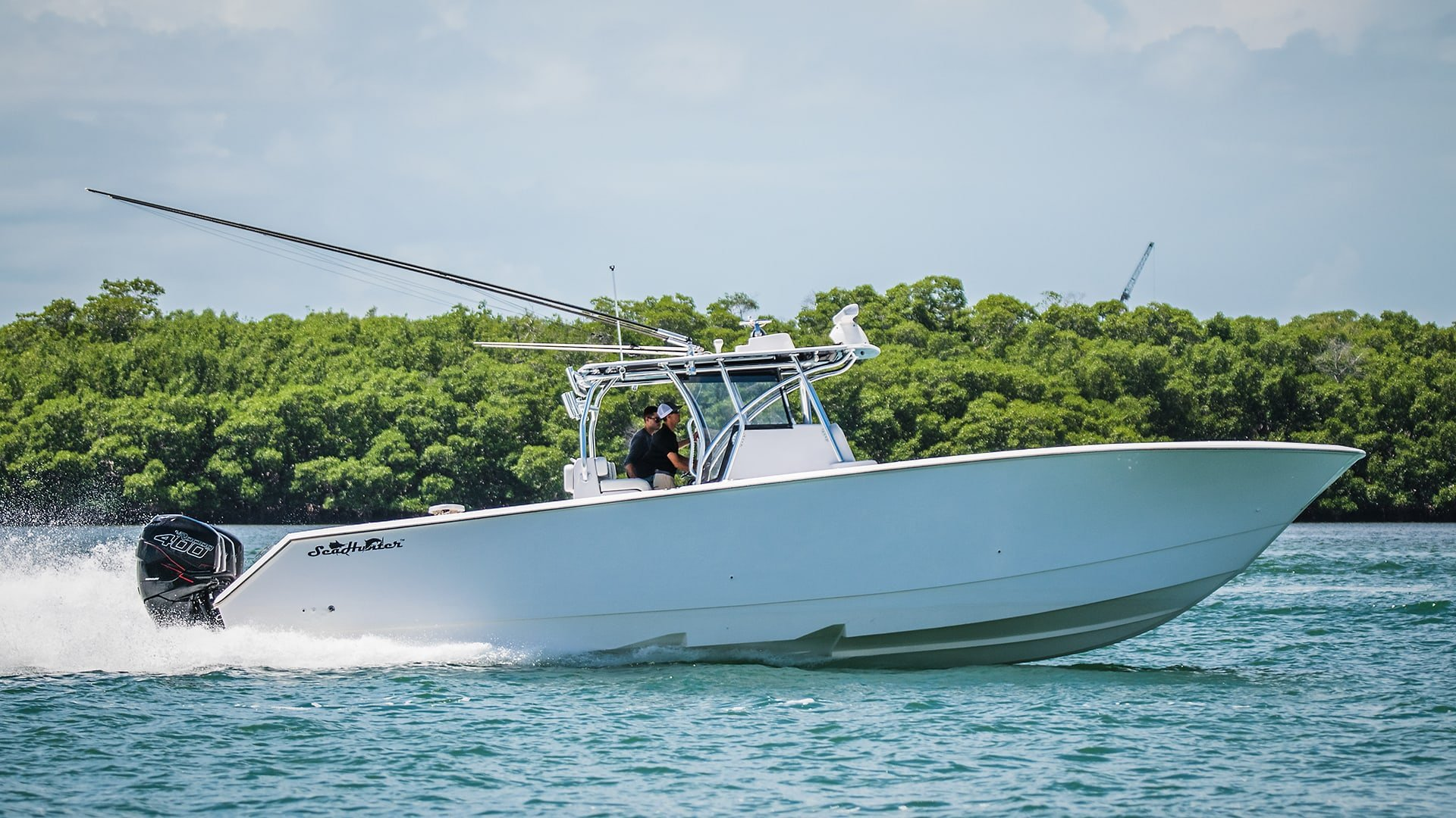 Seahunter Fishing Boat with quad Mercury Outboards
