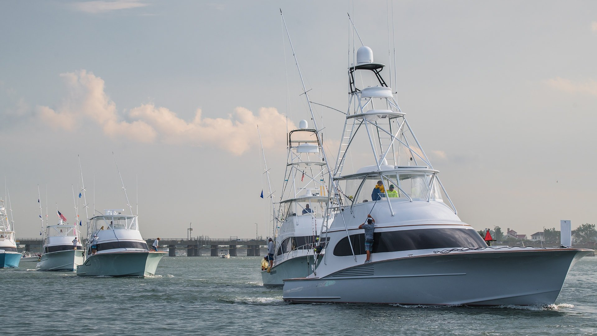 Boats headed to weigh in at the White Marlin Open
