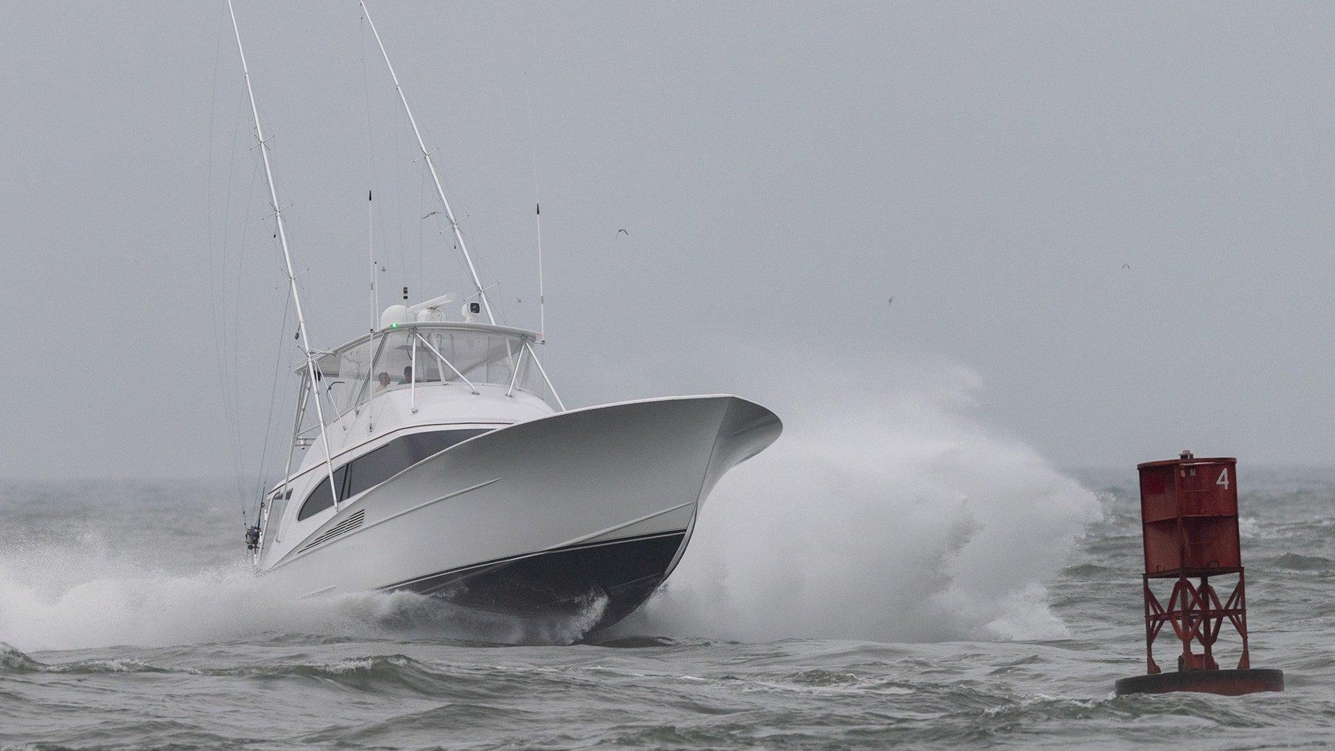 Sportfishing Boat In Rough Seas