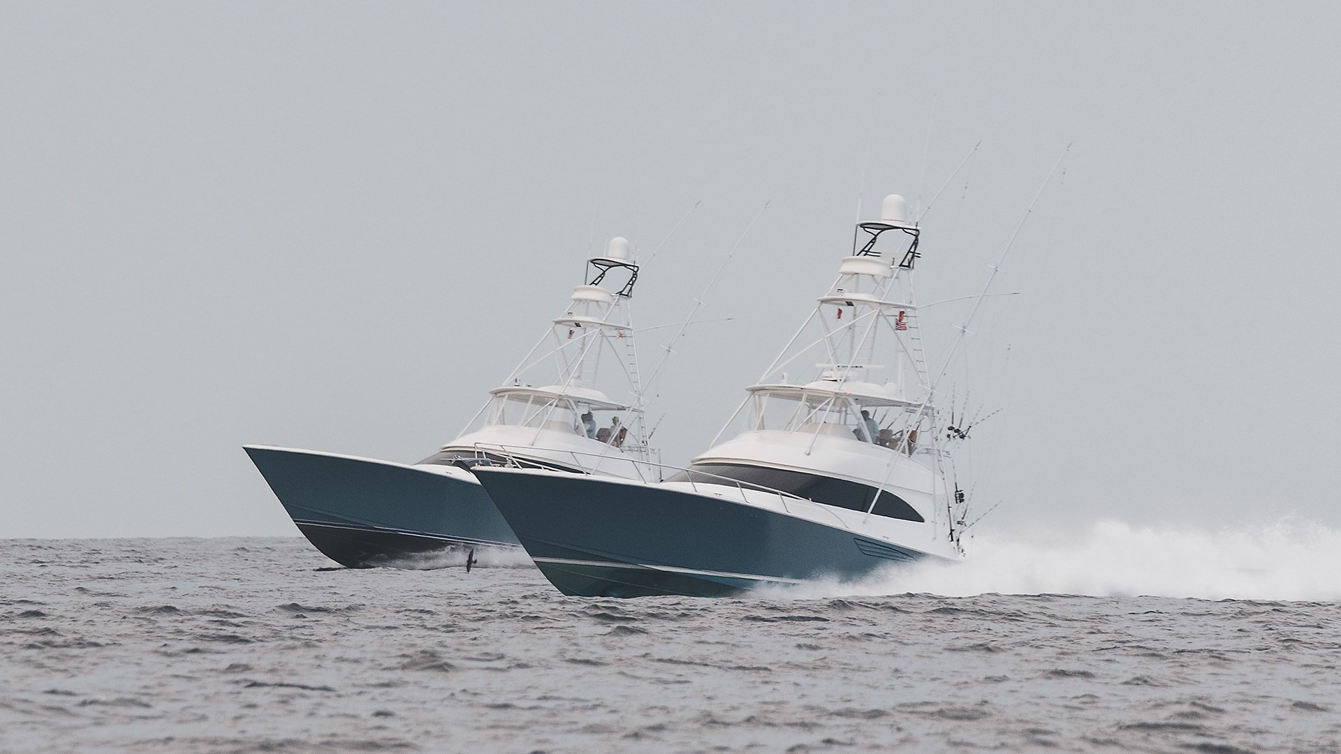 Two Viking Yachts Side by Side At The White Marlin Open